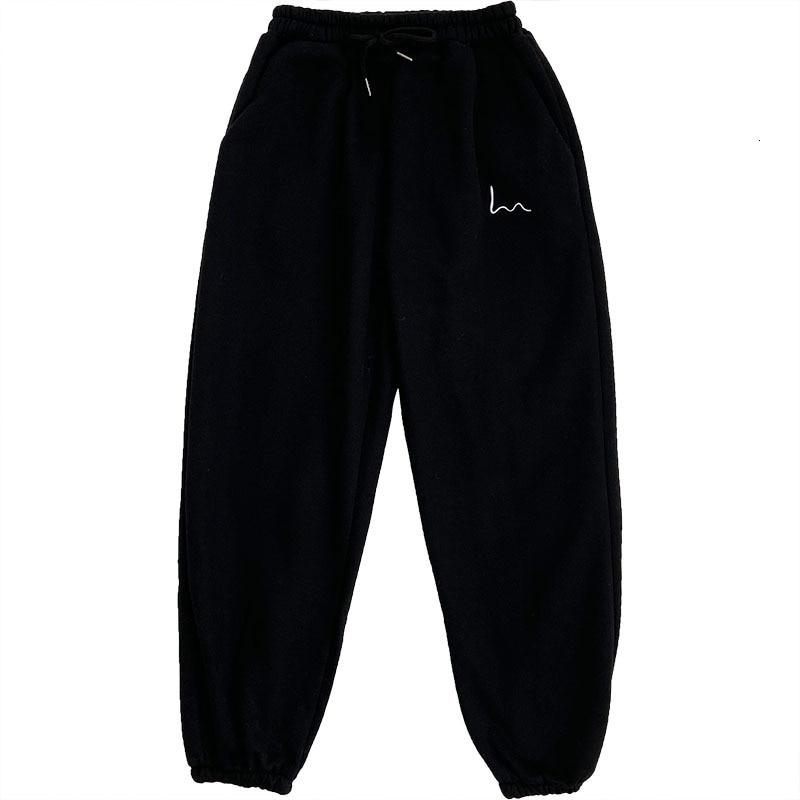 מכנסי חורף נשים כותנה יפהפים ונוחים רקמה אפור שחור צמר מכנסיים תחתון