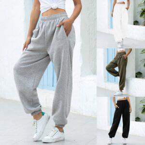 מכנסי באגי טרנינג רופפים רחב רגל מכנסי נשים היפ הופ  נשים מכנסיים אקסטרה רחב רך גבוהה מותניים קליל – טוב לריקוד !