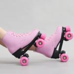 סקייטיים רולר גלגיליות קו כפול גלגיליות נשים גברים מבוגרים מקצועי שני קו סקייט נעלי Patines שחור ורוד Pu 4 גלגלים patins