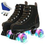 אדום שחור רולר גלגיליות עור פרה פלאש גלגלי נעלי קו כפול גלגיליות נשים גברים מבוגרים 2 קו סקייט נעלי 4 גלגלים patines Wrotki